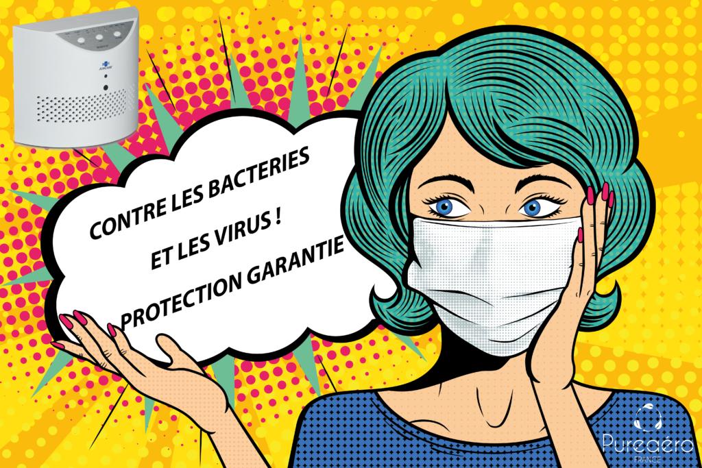 Pureaero purificateur d'air efficace contre les bactéries et les virus. Protection garantie